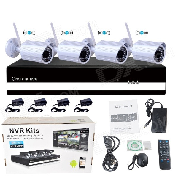 4-CH 720P Wi-Fi P2P NVR + 4-Wireless 1.0MP 1/4 CMOS Cameras w/ 36-IR LED Kit -White (US Plug) 4ch wifi nvr security system 1080p cctv nvr hdmi 4pcs 2 0 megapixels dome ir ip camera wireless surveillance kit 2tb hdd
