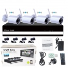 "4-CH 720P Wi-Fi P2P NVR + 4-Wireless 1.0MP 1/4"" CMOS Cameras w/ 36-IR LED Kit -White (US Plug)"