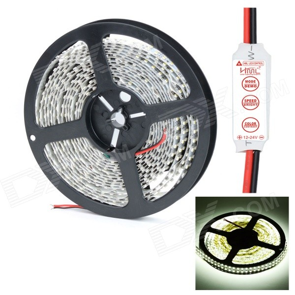 HML Dual Row 96W 4500lm 6500K 1200 x 3528 SMD LED White Light Strip w/ HML Control (DC 12V / 5M)