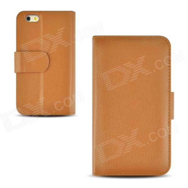 "Angibabe Lichee Pattern Wallet PU Leather Case for IPHONE 6 4.7"" - Brown"
