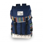 WQ2013 Women's Stylish Contrast Color Nylon Casual Backpack - Navy Blue (20L)