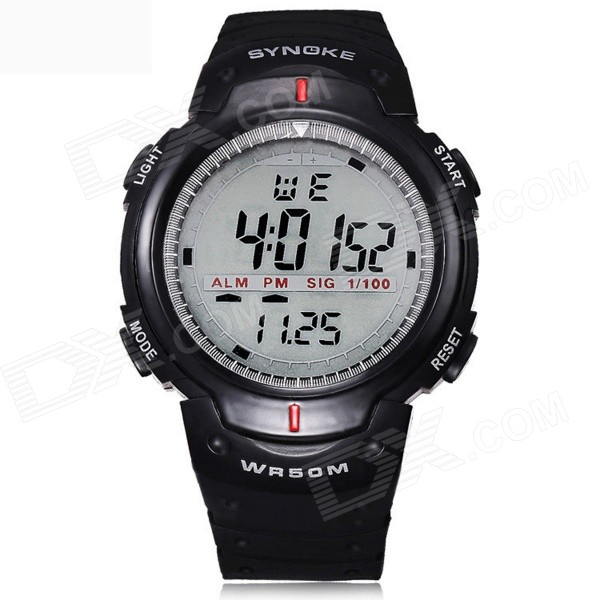 SYNOKE Men's Fashionable Digital Waterproof Sport Wristwatch w/ Alarm, Stopwatch, LED - Black