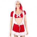 Zhengli ZL3558 Women's Sexy Christmas Cosplay Costume Plush Lingerie Dress - Red + White