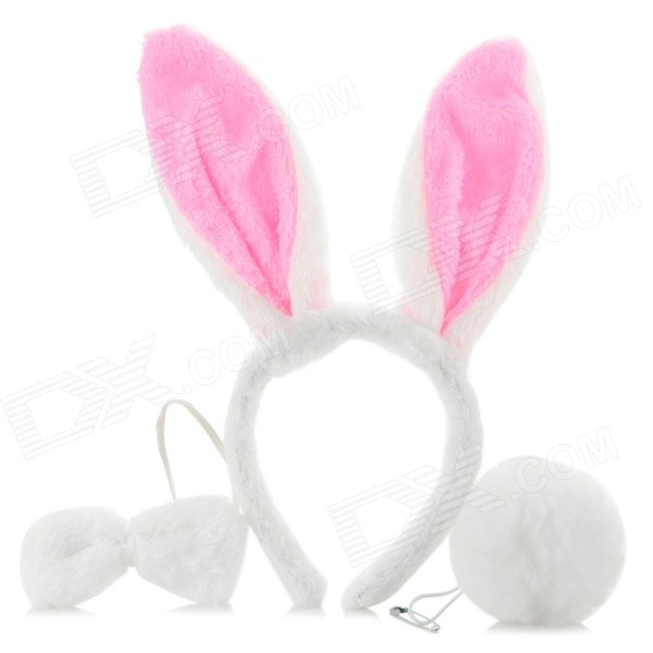 Halloween Fancy Ball Cosplay Rabbite Style Headwear + Bow-tie + Rabbit Tail Set - White + Pink