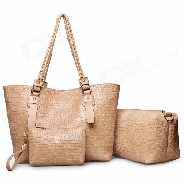 LEVSIFUN SJ-0081 Women's Fashion 3-in-1 Messenger Bag + Tote Bag + Handbag Set -  Apricot