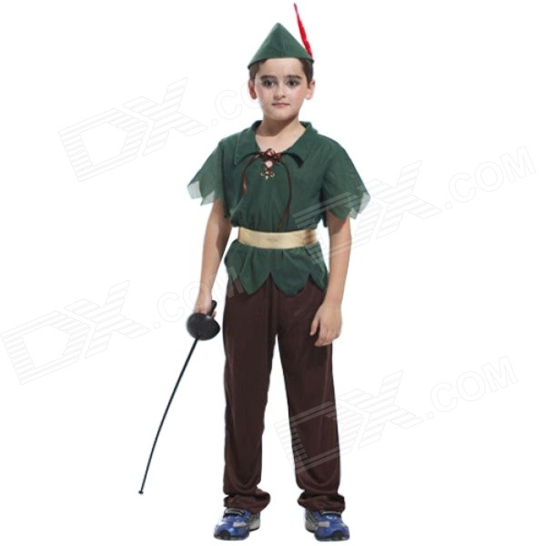 GQW1 Halloween Dacron Elf Style Cosplay Suit for Children - Green + Multi-Color halloween cute pumkin style costume hat set for children orange green