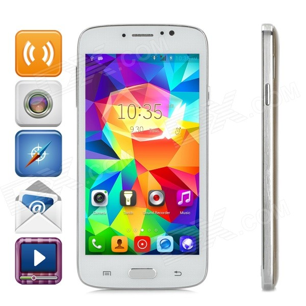 F-G906 5.0 Touch Screen Android 4.4.2 Dual-Core 3G Bar Phone w/ 1GB RAM, 4GB ROM, Dual-SIM - Golden мобильный телефон no 1 x men x1 f 1 x 1 x 5 mtk6582 1 8 gps 3g ip68