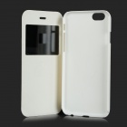 Protective Flip-open PU + PC Case w/ Stand / CID Window for IPHONE 6 - White