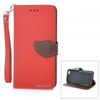 "DULISIMAI Flip-Open Case w/ Stand + Strap + Card / Money Slots for IPHONE 6 PLUS 5.5"" - Red + Brown"