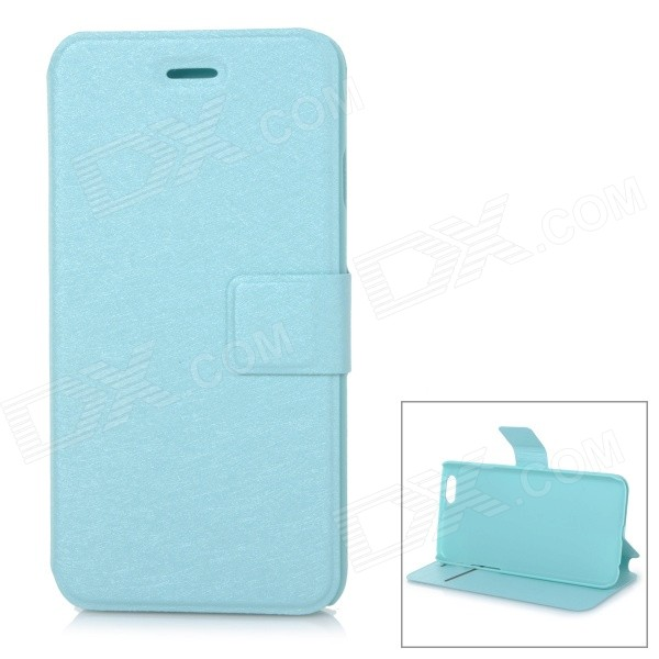 Protective Flip-Open PU Case Cover w/ Stand + Card Slot for IPHONE 6 4.7 - Light Blue protective flip open pu case cover w card slot stand strap for iphone 6 plus white black