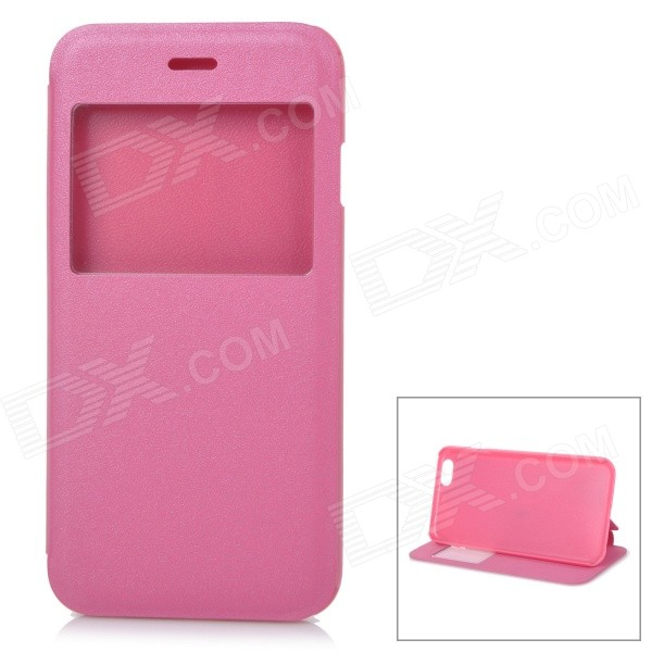 Protective Flip-open PU + PC Case w/ Stand / View Window for IPHONE 6 4.7 - Deep Pink usams ip4sxk04 protective flip open case w display window for iphone 4 4s deep pink
