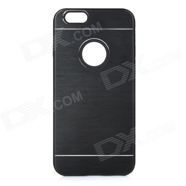 Protective Plastic + Aluminum Alloy Back Case Cover for IPHONE 6 - Black 1 piece free shipping black color aluminum anodizing junction housing case for electronics plastic project box 150mm