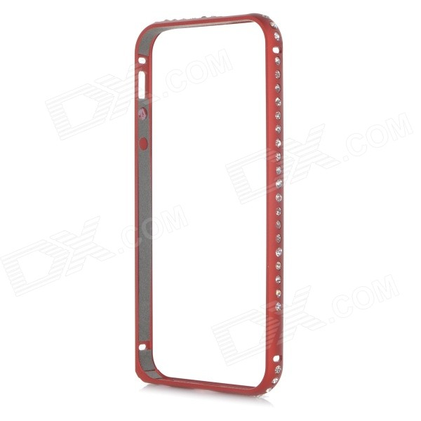 Protective Rhinstone Studded Aluminum Alloy Bumper Frame Case w/ Lock Catch for IPHONE 5 / 5S - Red protective aluminium alloy bumper frame for iphone 5 5s champagne