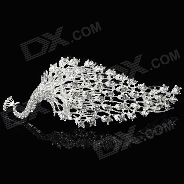 Women's Peacock Style Rhinestones Inlaid Hair Decorative Hairpin Comb - Silver + White