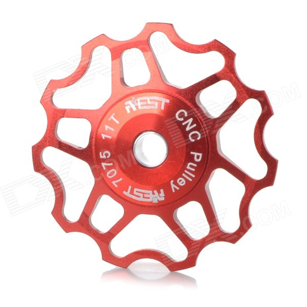 AEST YPU09A14 Bike Bicycle Ultra Light 11T Aluminum Alloy Wheels Rear Derailleur Pulley - Red aest aluminum bike 7075 11t rear derailleur pulley for shimano sram 7 8 9 speed red