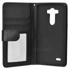 Flip-open ABS + PU Case w/ Card Slots, Stylus for LG G3 / D858 - Black