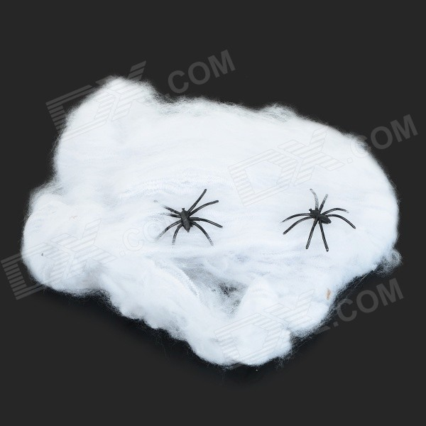 Halloween Haunted Room / Bar Decoration Cotton Spider Webs - White + Black kerst navidad 2017 halloween haunted house supplies bar ktv decorative props tricky toys luminous spider web 142g