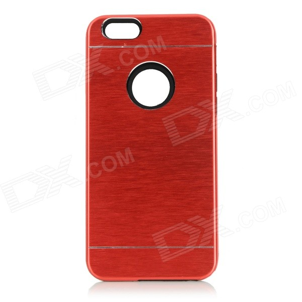 Protective Plastic + Aluminum Alloy Back Case Cover for IPHONE 6 - Red protective brushed aluminum alloy back case for iphone 6 silver
