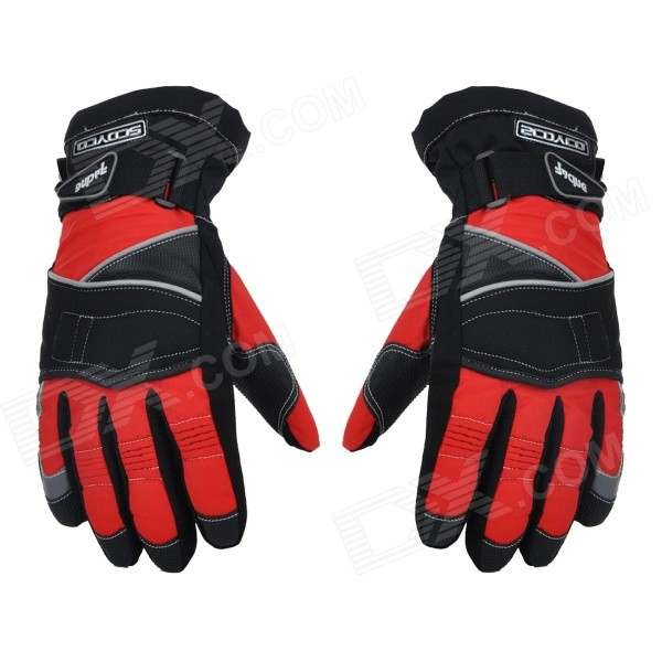 SCOYCO MC15 Motorcycle Full-Finger Warm Gloves - Black + Red (XL / Pair) good hand full fingers cycling gloves black red pair size xl