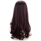 Fashion High-temperature Resistant Fibre Long Curly Wig - Black + Wine Red