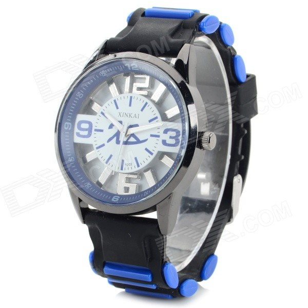 XINKAI 0015 Children's Casual Silicone Band Quartz Analog Wristwatch - Black + Dark Blue (1 x 377)