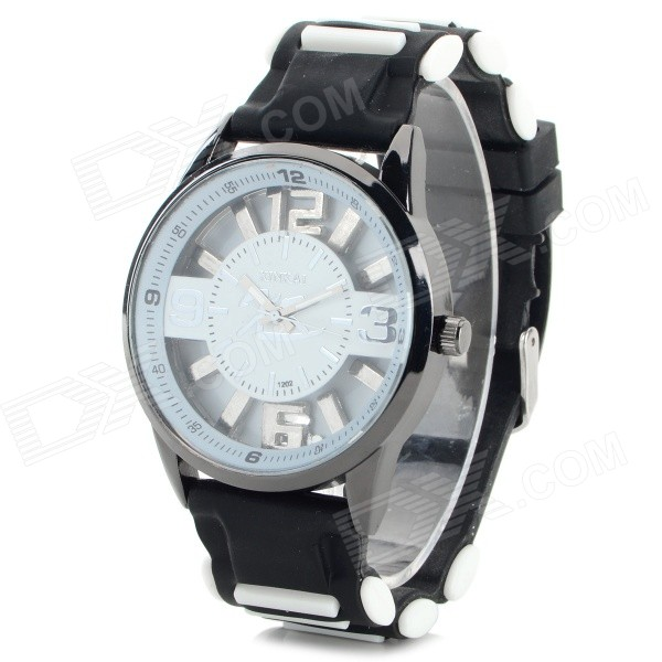 XINKAI 0015 Children's Casual Silicone Band Quartz Analog Wristwatch - Black + White (1 x 377)