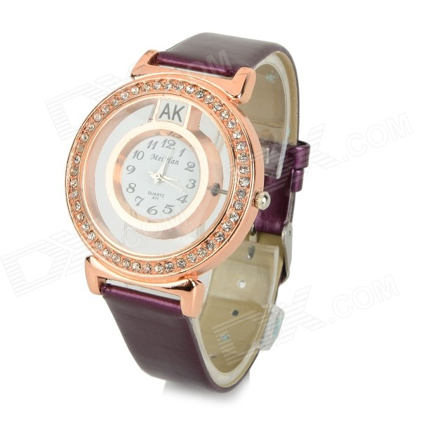 MeiHan A11 Men's PU Band Rhinestone-studded Quartz Analog Wristwatch - White + Purple (1 x 377A)