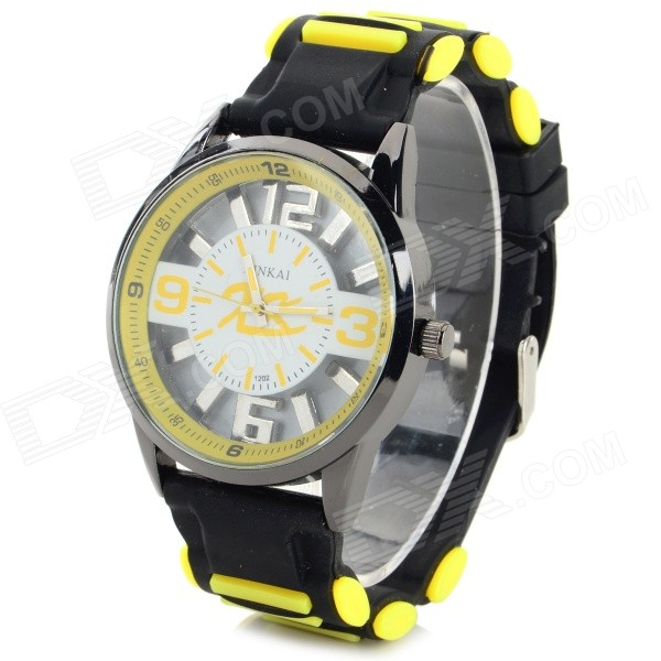 XINKAI Children's Casual Silicone Band Quartz Analog Wristwatch - Black + Yellow (1 x 377)