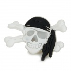 Halloween Skull Shaped 2-LED Red 1-LED Blue Luminous Brooch - White + Black (3 x LR41)