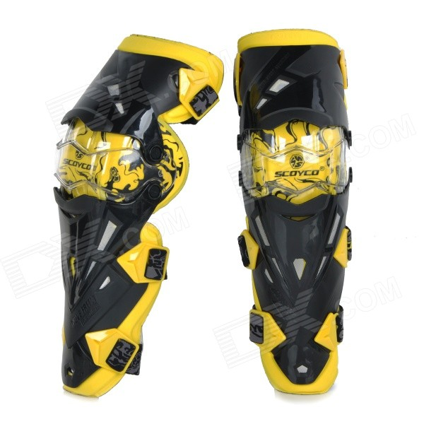 SCOYCO K12 Motorcycle Off-Road Racing Outdoor Sports Knee Protector Guard - Yellow + Black (Pair) thor force knee guards
