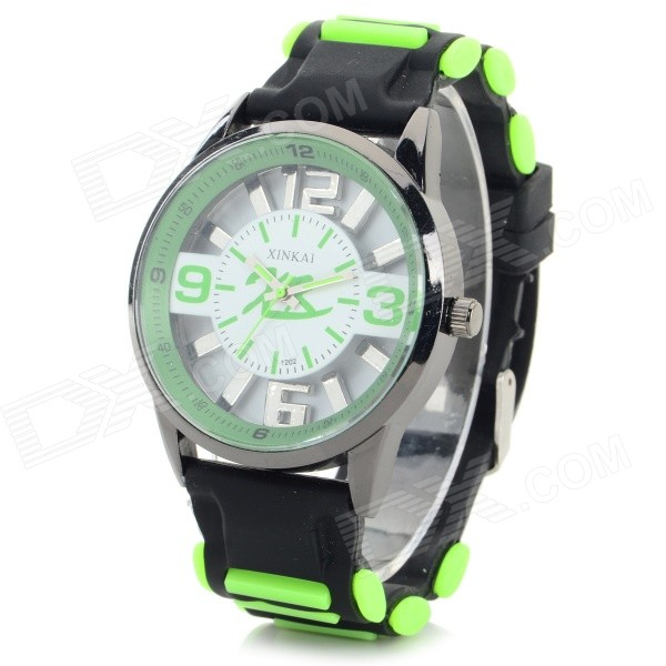 XINKAI 0015 Children's Casual Silicone Band Quartz Analog Wristwatch - Black + Green (1 x 377)