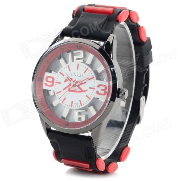 XINKAI 0015 Children's Casual Silicone Band Quartz Analog Wristwatch - Black + Red (1 x 377)