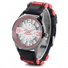 XINKAI Children's Casual Silicone Band Quartz Analog Wristwatch - Black + Red (1 x 377)