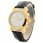CJIABA Men's Fashion PU Band Analog Mechanical Wrist Watch - Black + Golden + Multi-Color
