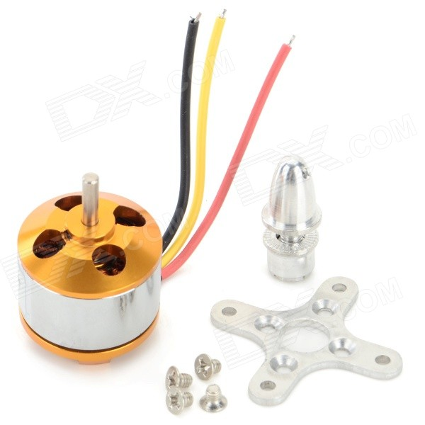 A2212 13T 1000KV Outrunner Brushless Motor - Golden + Silver 4set lot universal rc quadcopter part kit 1045 propeller 1pair hp 30a brushless esc a2212 1000kv outrunner brushless motor