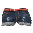 Creative Jeans Shorts Style Wallet Bag w/ Shoulder Strap for Women - Blue + Red