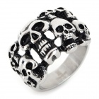 G0MAYA GR001 Men's Cool Skull Head 316L Stainless Steel Ring - Silver (Size 8.5)