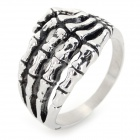 G0MAYA GR005 Cool Skeleton Hand Shaped 316L Stainless Steel Ring - Silver (Size 8.5)