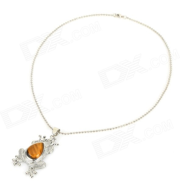 FenLu HYSJC14 Stylish Toad Shaped Tiger's-Eye Pendant Necklace - Tan + Silver punk eye shaped pendant women men s necklace