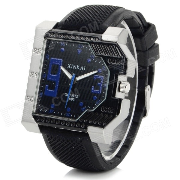 XINKAI Creative Silicone Band Analog Quartz Wrist Watch - Black + Deep Blue (1 x 377) cl 402 transparent led ocean style skateboard with several changeable lights complete skateboard 22 inch cruiser longboard