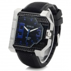 XINKAI Creative Silicone Band Analog Quartz Wrist Watch - Black + Deep Blue (1 x 377)