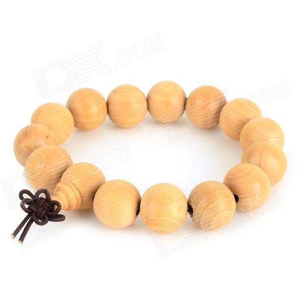 HTXM001 Sandalwood Beads Bracelet - Light Yellow (22cm) цена