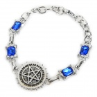 Stylish Rhinestone-studded Pentagram Patterned Zinc Alloy Bracelet - Silver (20.5cm)