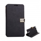 D Protect MSC04 Protective PU Leather Case w/ Dual Card Slots + Stand for Samsung Note 3 - Black