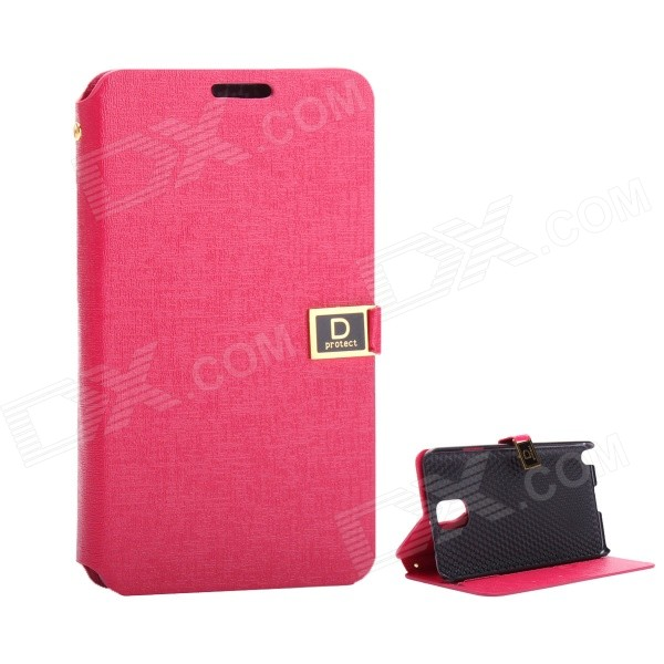 Protective PU Leather Case with Dual Card Slot / Stand for Samsung Note 3 - Deep Pink аксессуар защитное стекло samsung galaxy s8 plus luxcase 3d black 77353