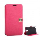 Protective PU Leather Case with Dual Card Slot / Stand for Samsung Note 3 - Deep Pink