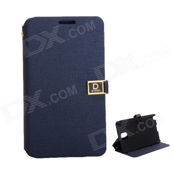 Protective PU Leather Case with Dual Card Slot / Stand for Samsung Note 3 - Dark Blue silk grain leather stand case for iphone 7 plus with card slot dark blue