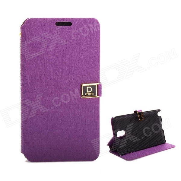 D Protect MSC04 Protective PU Leather Case w/ Dual Card Slots + Stand for Samsung Note 3 - Purple d protect msc04 protective pu leather case w dual card slots stand for samsung note 3 orange