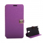 D Protect MSC04 Protective PU Leather Case w/ Dual Card Slots + Stand for Samsung Note 3 - Purple