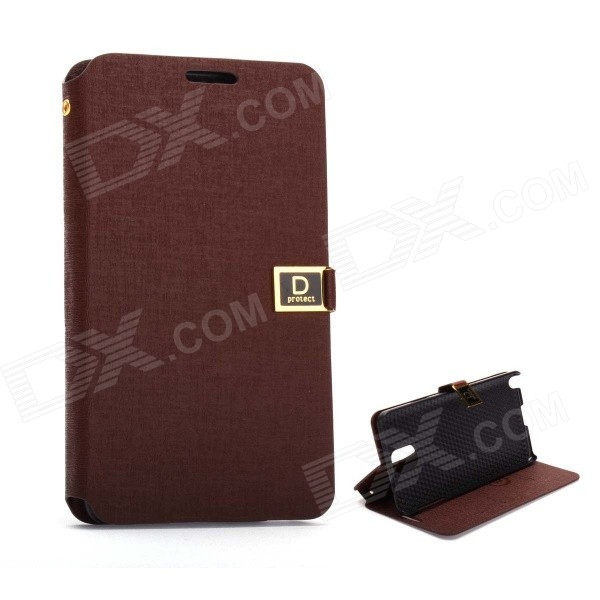D Protect MSC04 Protective PU Leather Case w/ Dual Card Slots + Stand for Samsung Note 3 - Brown d protect msc04 protective pu leather case w dual card slots stand for samsung note 3 orange